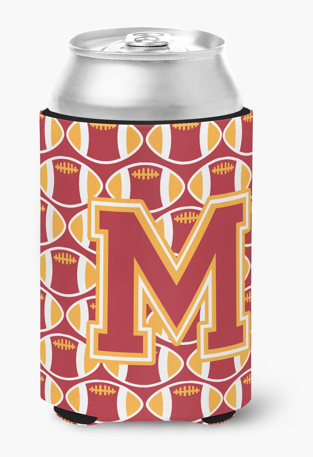Letter M Football Cardinal and Gold Can or Bottle Hugger CJ1070-MCC by Caroline's Treasures