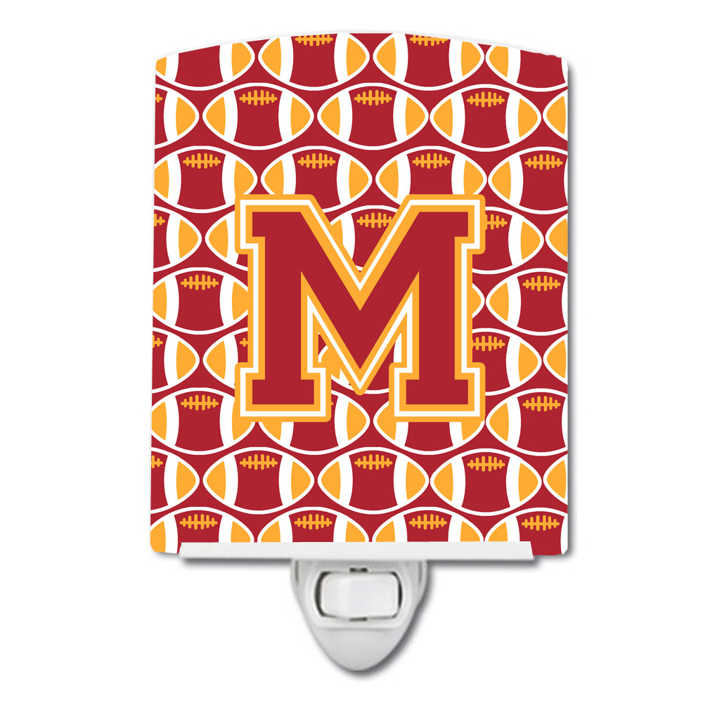 Letter M Football Cardinal and Gold Ceramic Night Light CJ1070-MCNL by Caroline's Treasures