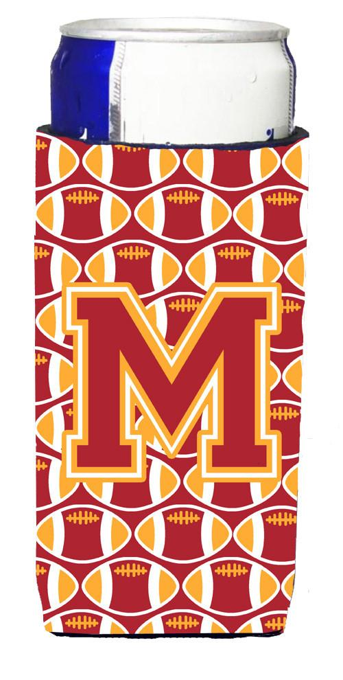 Letter M Football Cardinal and Gold Ultra Beverage Insulators for slim cans CJ1070-MMUK by Caroline's Treasures