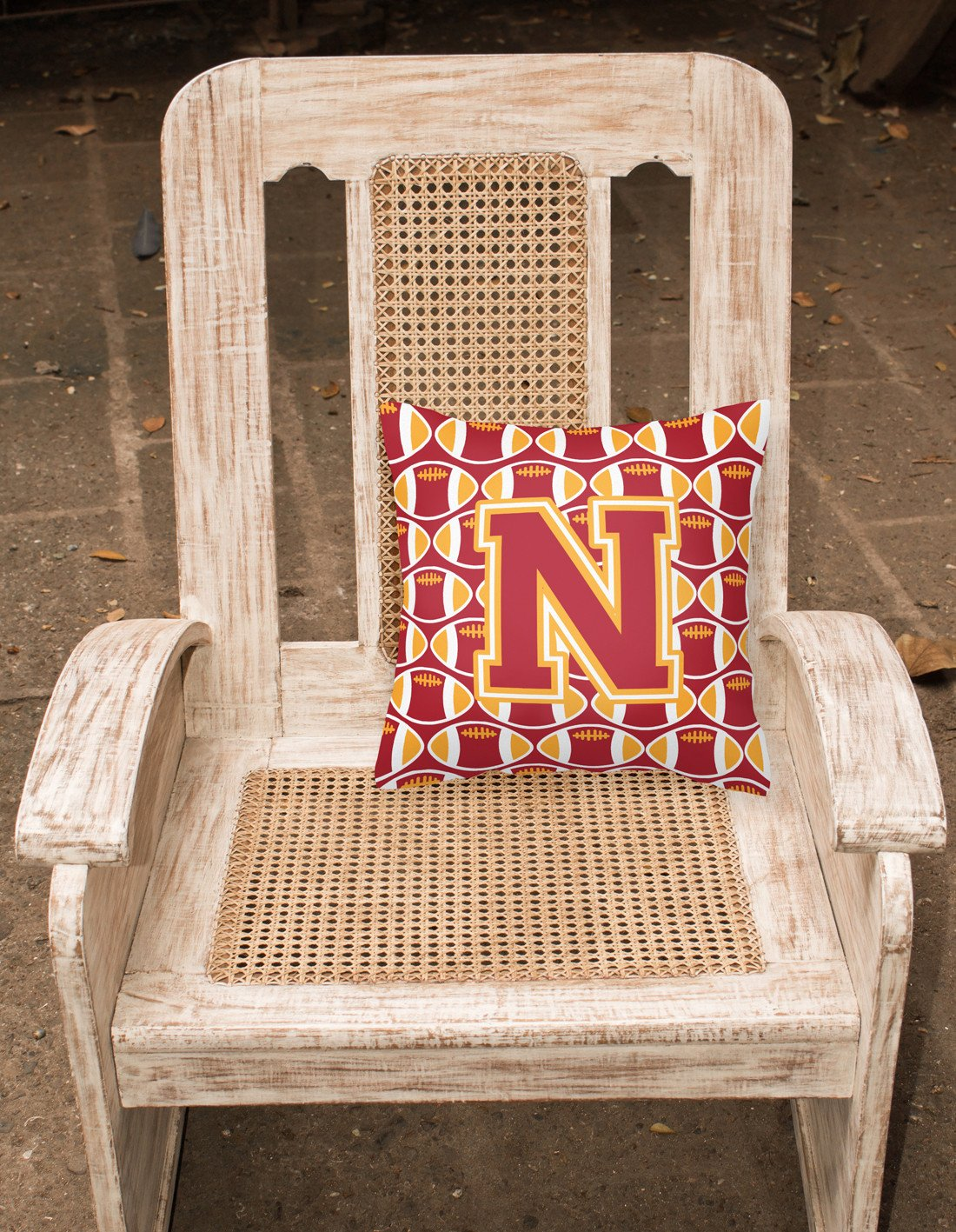 Letter N Football Cardinal and Gold Fabric Decorative Pillow CJ1070-NPW1414 by Caroline's Treasures