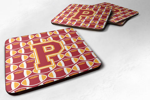 Buy this Letter P Football Cardinal and Gold Foam Coaster Set of 4 CJ1070-PFC
