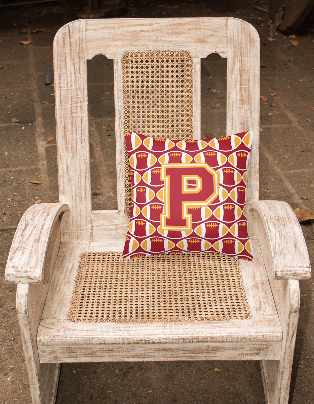 Letter P Football Cardinal and Gold Fabric Decorative Pillow CJ1070-PPW1414 by Caroline's Treasures