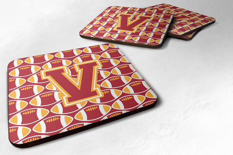Buy this Letter V Football Cardinal and Gold Foam Coaster Set of 4 CJ1070-VFC