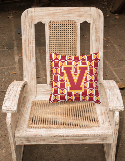Letter V Football Cardinal and Gold Fabric Decorative Pillow CJ1070-VPW1414