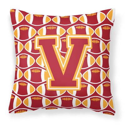 Buy this Letter V Football Cardinal and Gold Fabric Decorative Pillow CJ1070-VPW1414