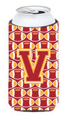 Letter V Football Cardinal and Gold Tall Boy Beverage Insulator Hugger CJ1070-VTBC by Caroline's Treasures
