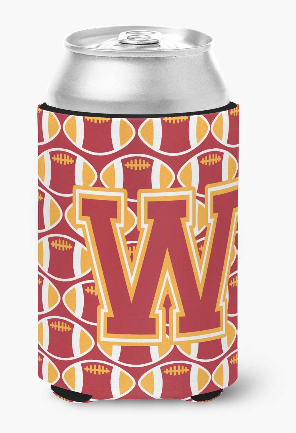 Buy this Letter W Football Cardinal and Gold Can or Bottle Hugger CJ1070-WCC