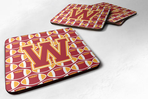 Buy this Letter W Football Cardinal and Gold Foam Coaster Set of 4 CJ1070-WFC