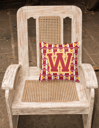 Letter W Football Cardinal and Gold Fabric Decorative Pillow CJ1070-WPW1414