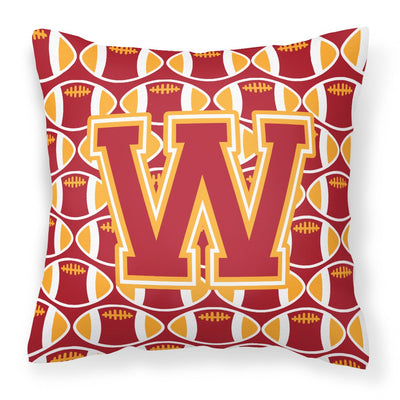 Buy this Letter W Football Cardinal and Gold Fabric Decorative Pillow CJ1070-WPW1414