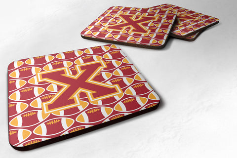 Buy this Letter X Football Cardinal and Gold Foam Coaster Set of 4 CJ1070-XFC