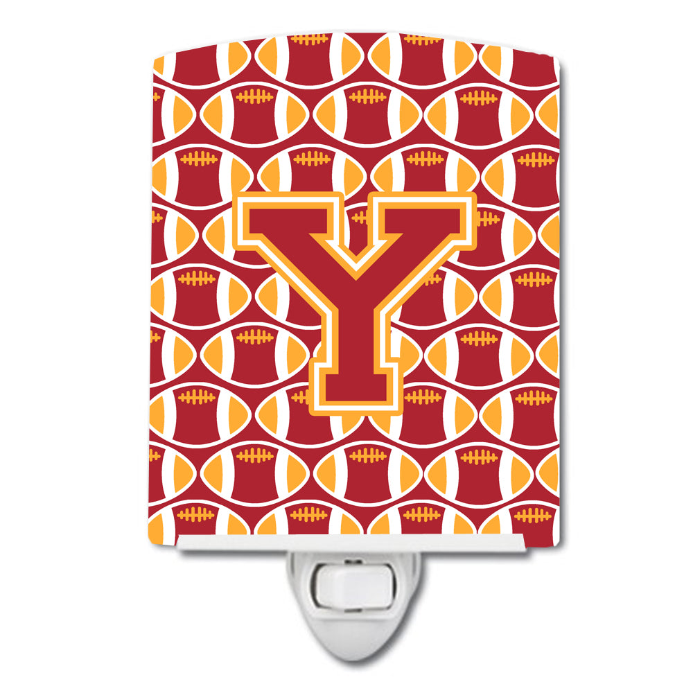 Buy this Letter Y Football Cardinal and Gold Ceramic Night Light CJ1070-YCNL