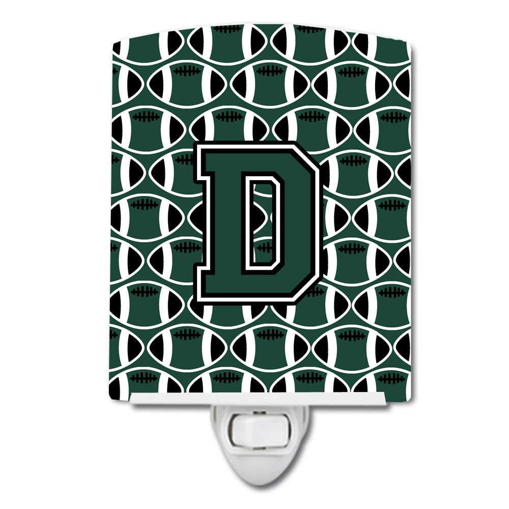 Letter D Football Green and White Ceramic Night Light CJ1071-DCNL by Caroline's Treasures