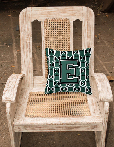 Letter E Football Green and White Fabric Decorative Pillow CJ1071-EPW1414