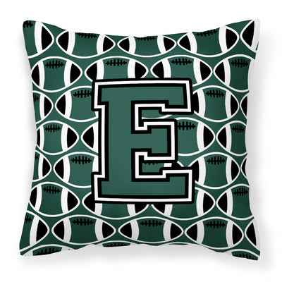 Buy this Letter E Football Green and White Fabric Decorative Pillow CJ1071-EPW1414