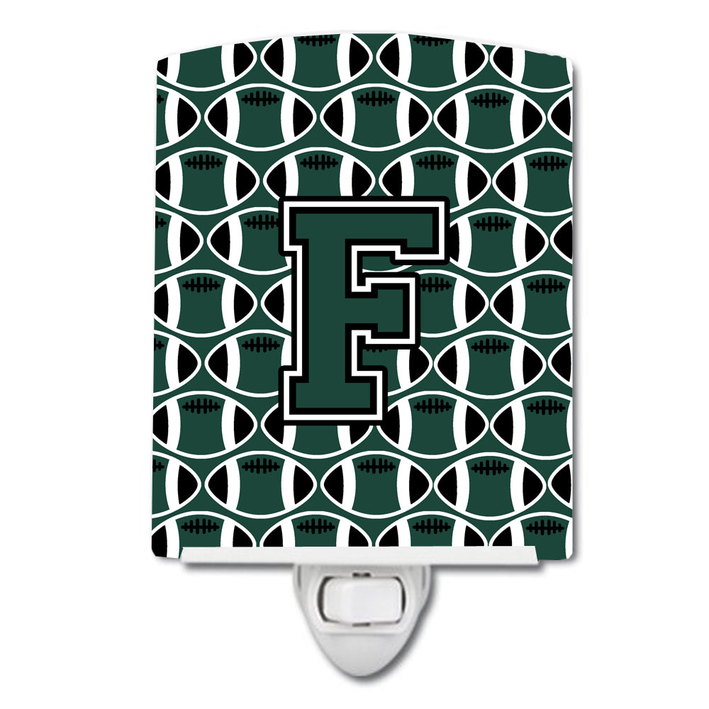 Buy this Letter F Football Green and White Ceramic Night Light CJ1071-FCNL