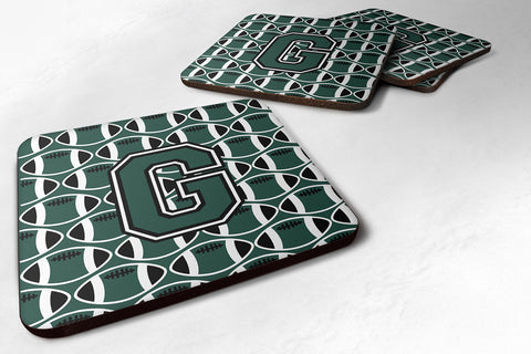 Buy this Letter G Football Green and White Foam Coaster Set of 4 CJ1071-GFC