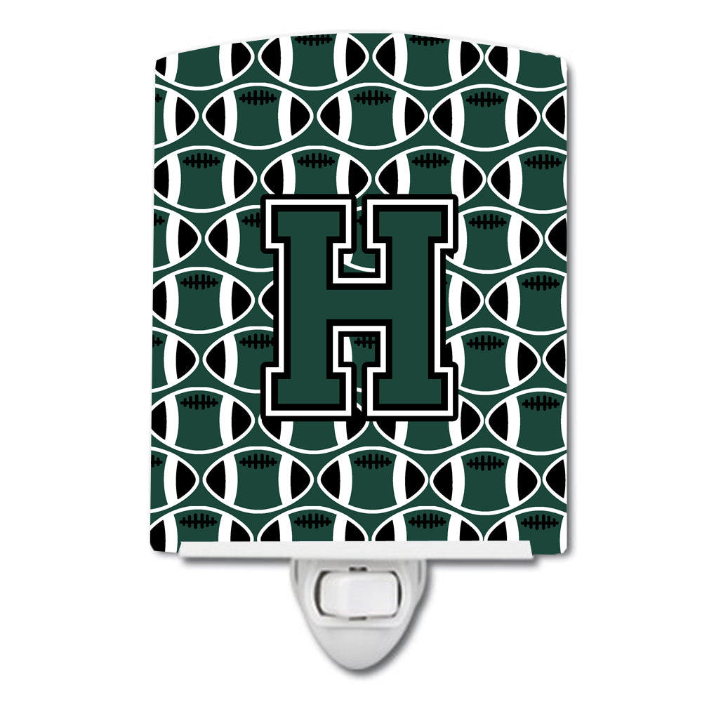 Letter H Football Green and White Ceramic Night Light CJ1071-HCNL by Caroline's Treasures