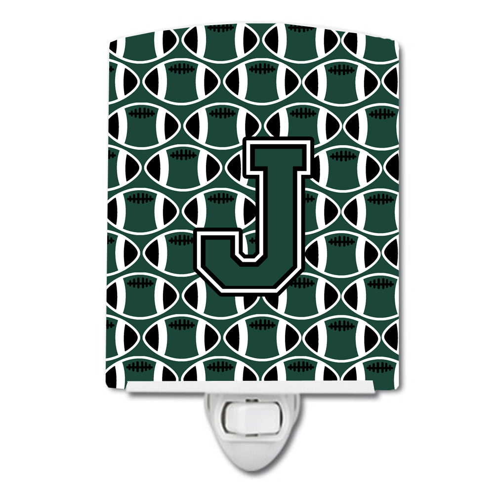 Letter J Football Green and White Ceramic Night Light CJ1071-JCNL by Caroline's Treasures