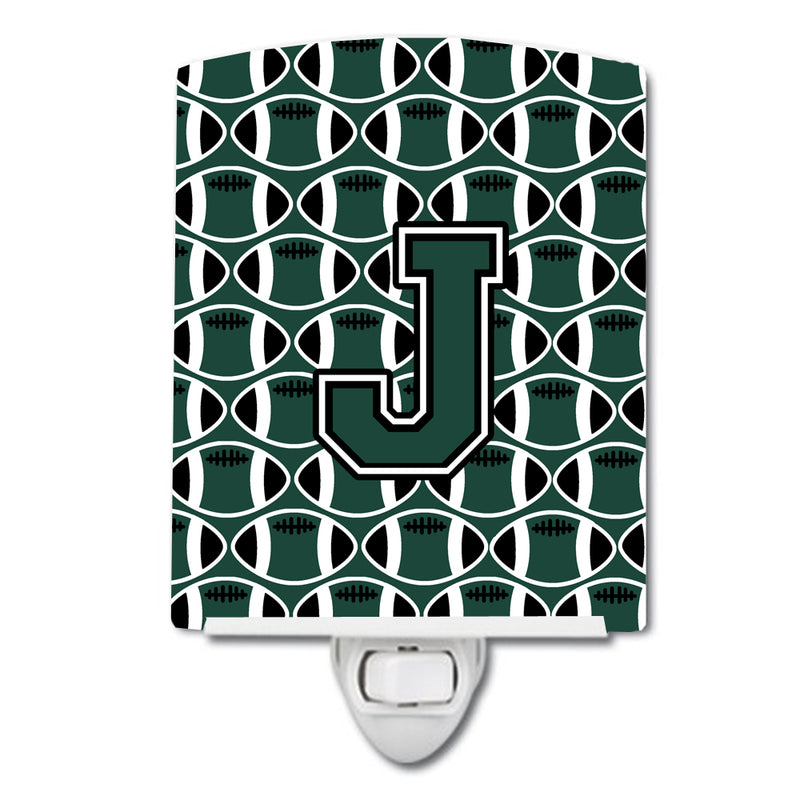 Buy this Letter J Football Green and White Ceramic Night Light CJ1071-JCNL