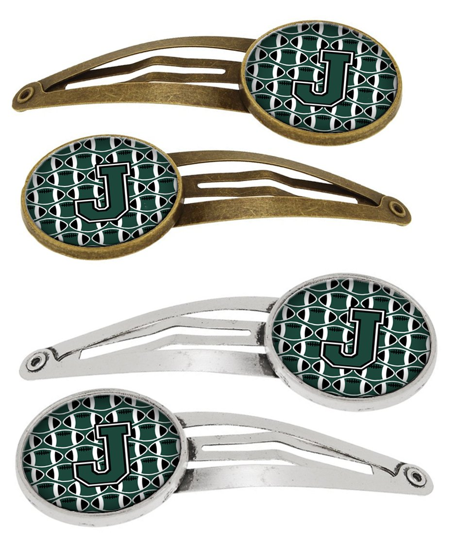 Buy this Letter J Football Green and White Set of 4 Barrettes Hair Clips CJ1071-JHCS4