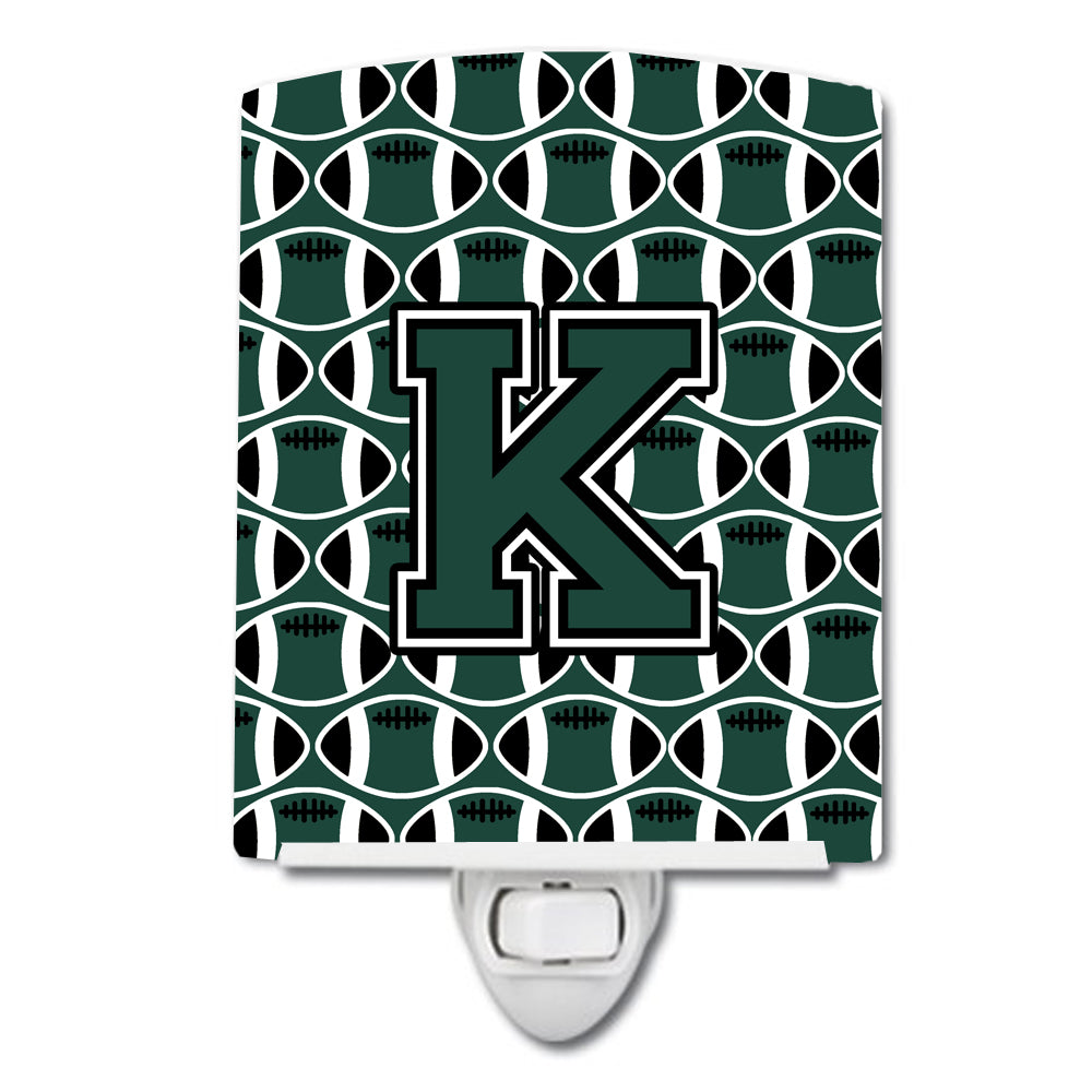 Buy this Letter K Football Green and White Ceramic Night Light CJ1071-KCNL