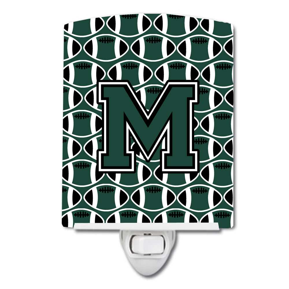 Letter M Football Green and White Ceramic Night Light CJ1071-MCNL by Caroline's Treasures