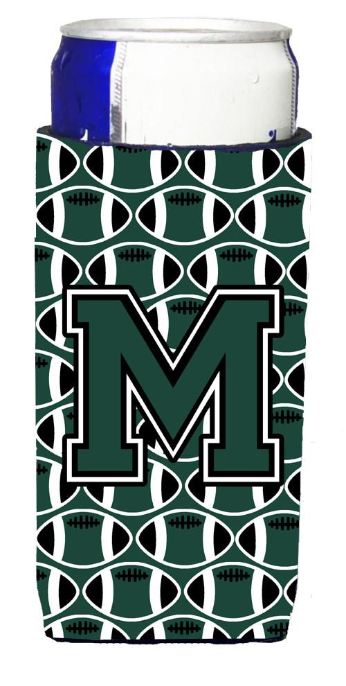 Letter M Football Green and White Ultra Beverage Insulators for slim cans CJ1071-MMUK by Caroline's Treasures