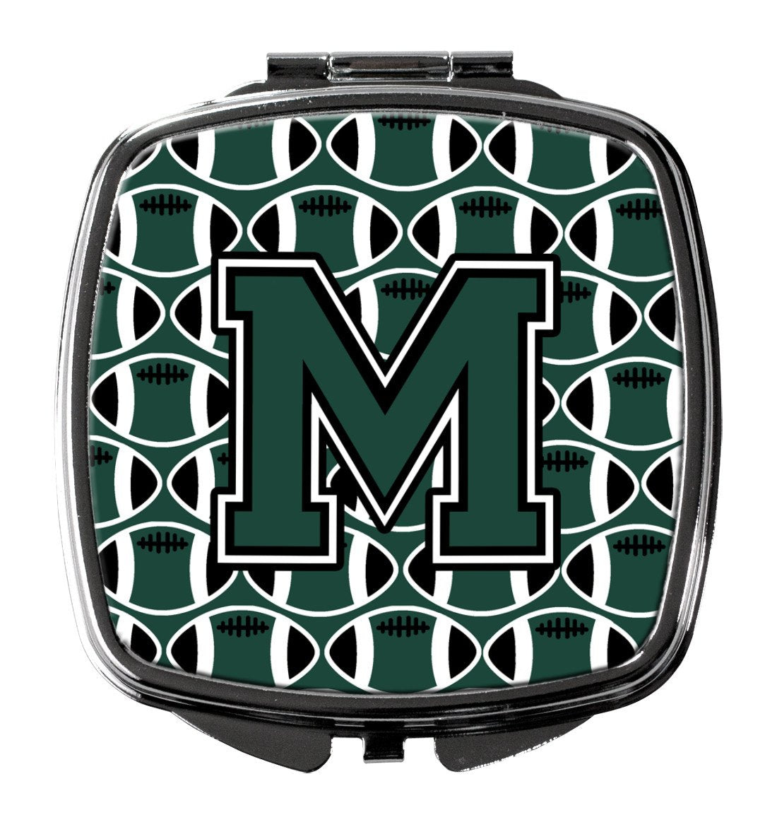 Letter M Football Green and White Compact Mirror CJ1071-MSCM by Caroline's Treasures