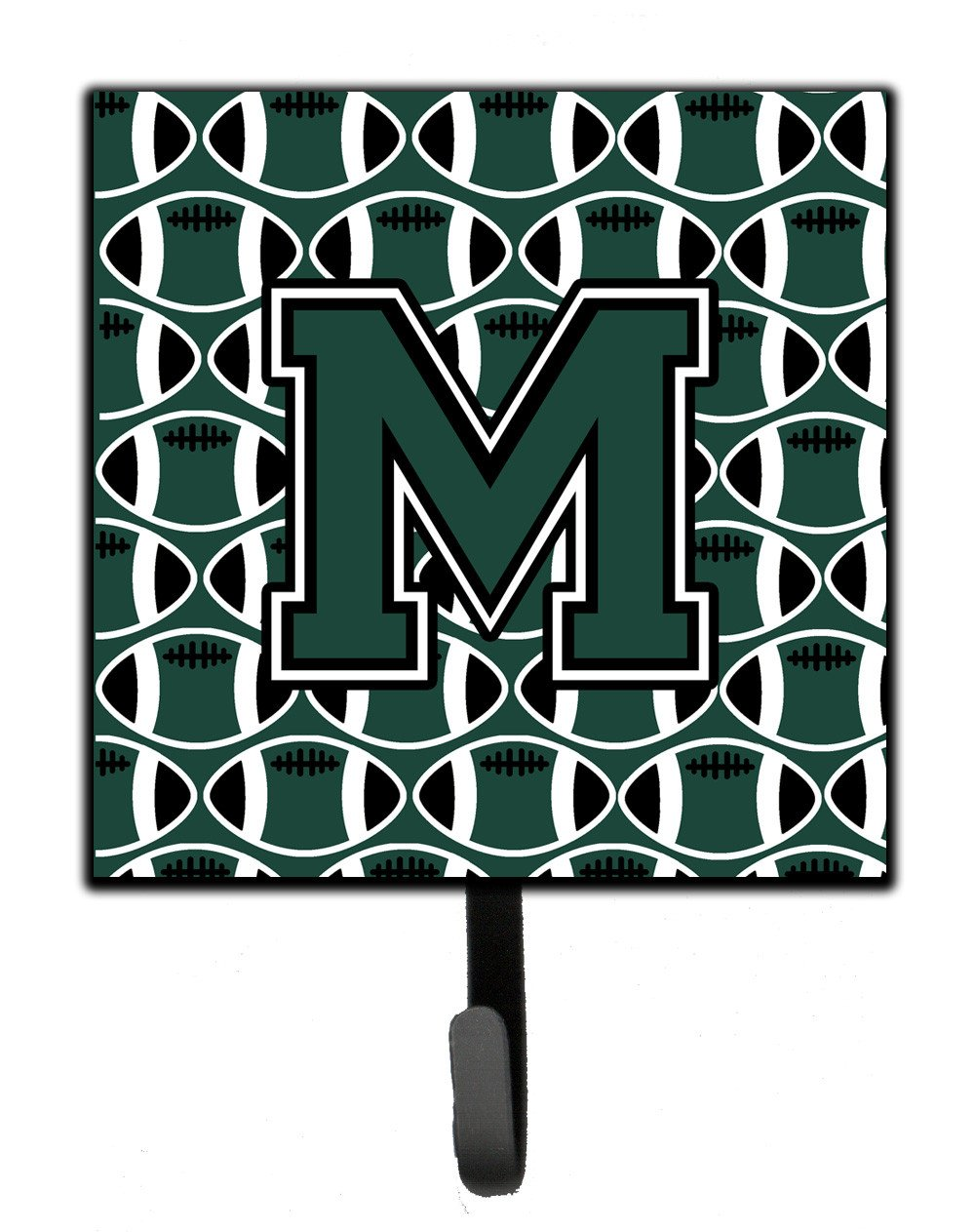 Letter M Football Green and White Leash or Key Holder CJ1071-MSH4 by Caroline's Treasures