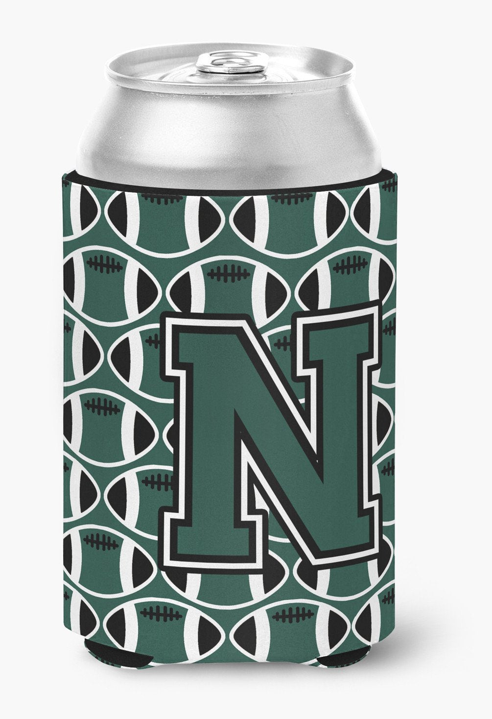 Letter N Football Green and White Can or Bottle Hugger CJ1071-NCC by Caroline's Treasures