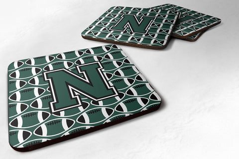 Buy this Letter N Football Green and White Foam Coaster Set of 4 CJ1071-NFC