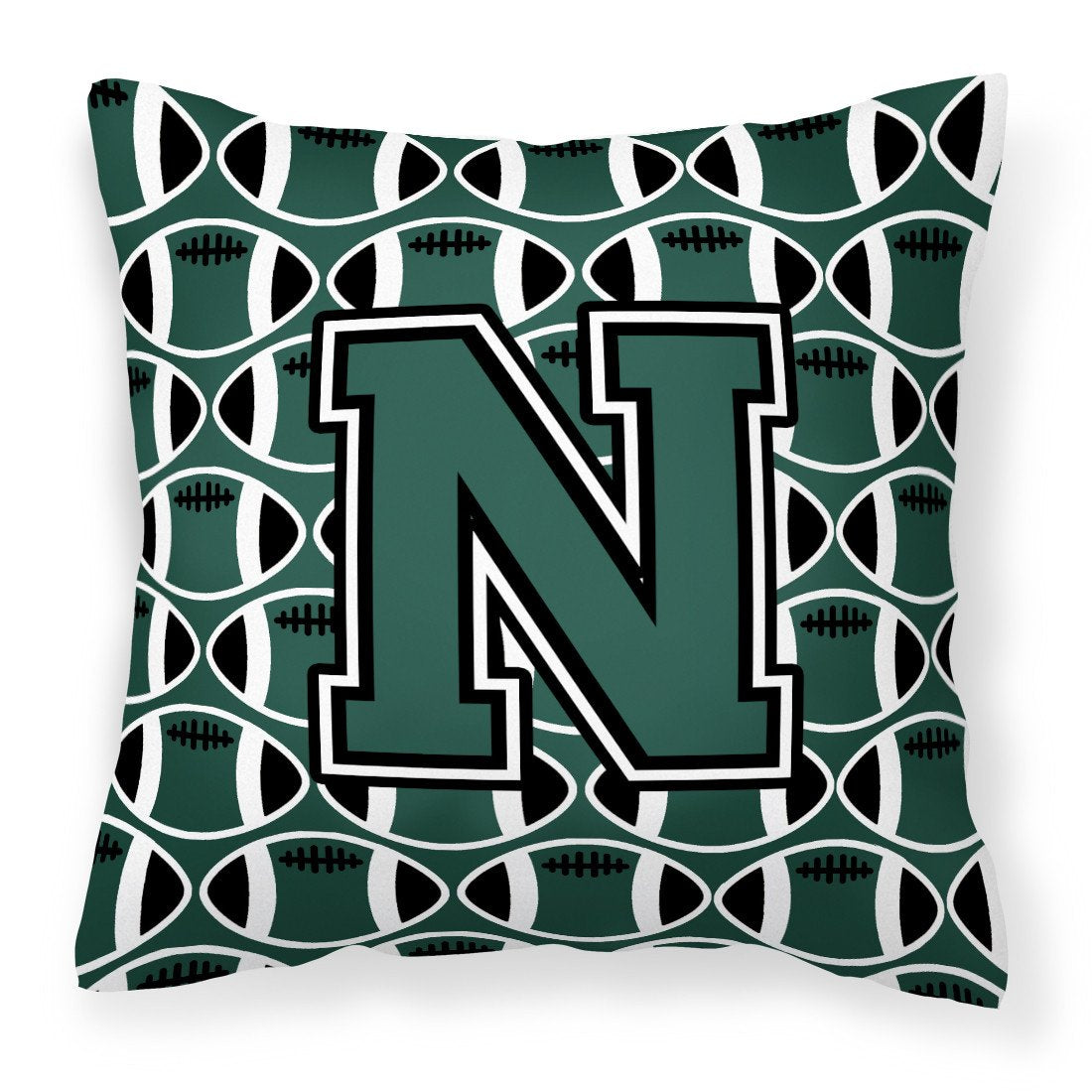 Letter N Football Green and White Fabric Decorative Pillow CJ1071-NPW1414 by Caroline's Treasures