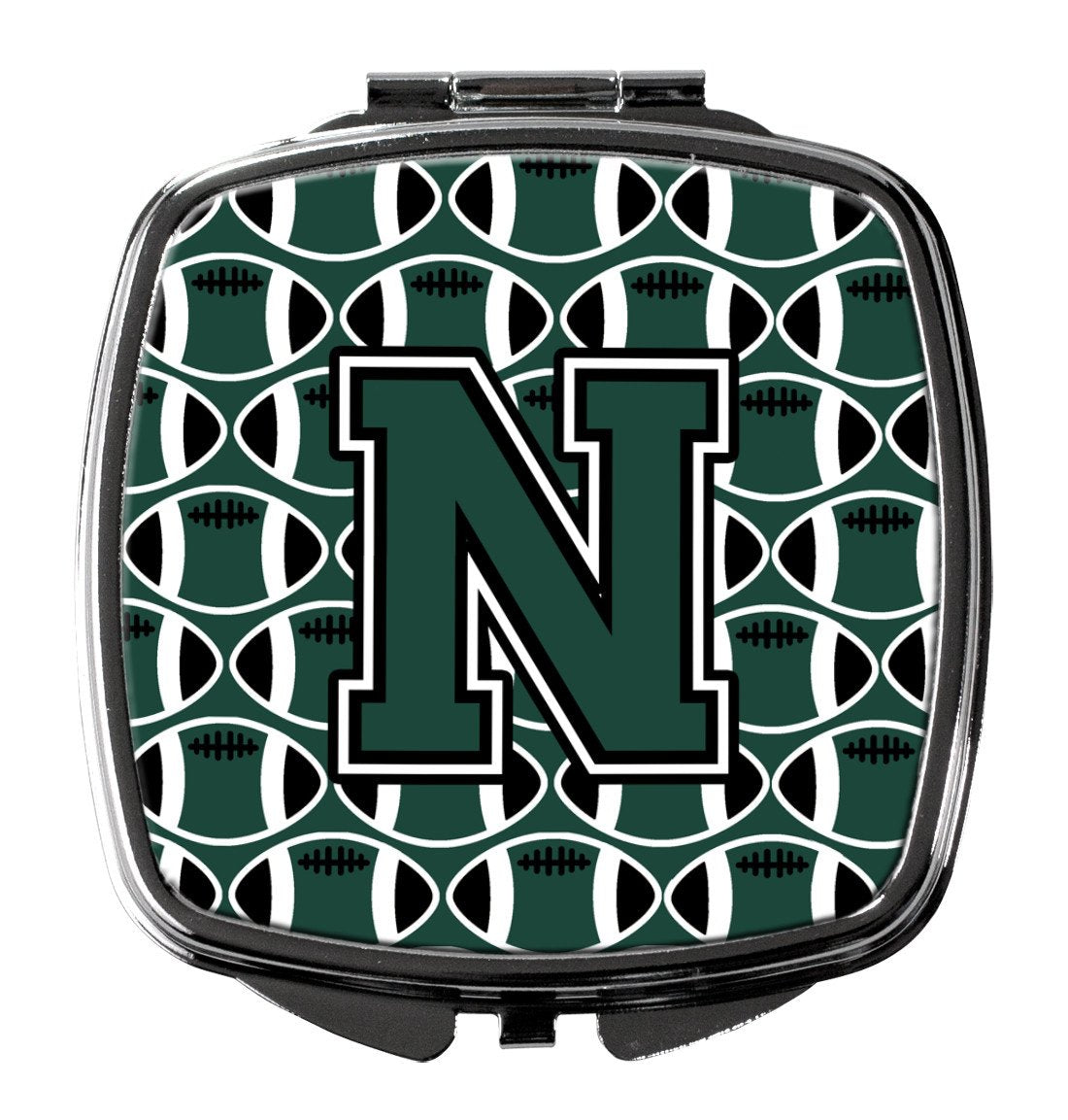 Letter N Football Green and White Compact Mirror CJ1071-NSCM by Caroline's Treasures