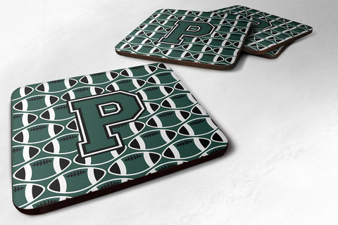 Buy this Letter P Football Green and White Foam Coaster Set of 4 CJ1071-PFC