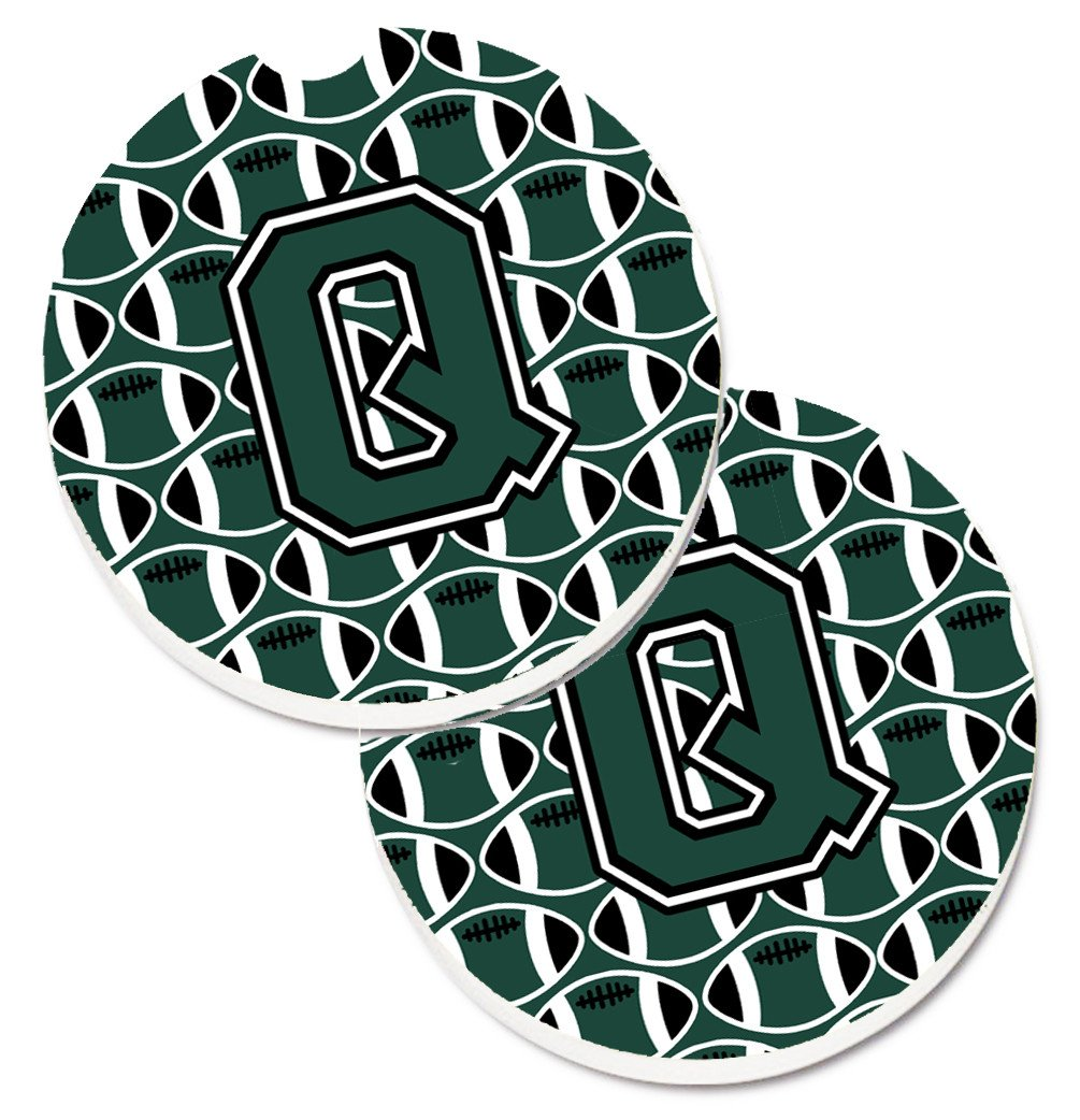 Letter Q Football Green and White Set of 2 Cup Holder Car Coasters CJ1071-QCARC by Caroline's Treasures