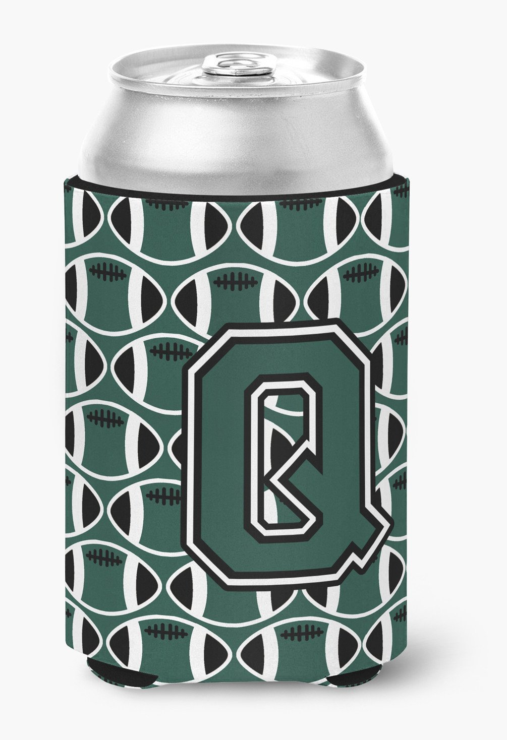 Letter Q Football Green and White Can or Bottle Hugger CJ1071-QCC by Caroline's Treasures