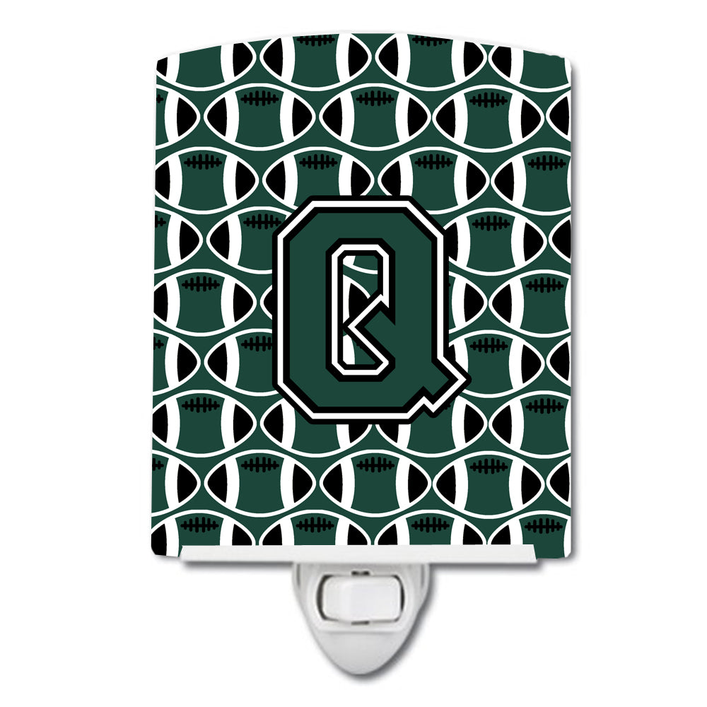 Letter Q Football Green and White Ceramic Night Light CJ1071-QCNL by Caroline's Treasures
