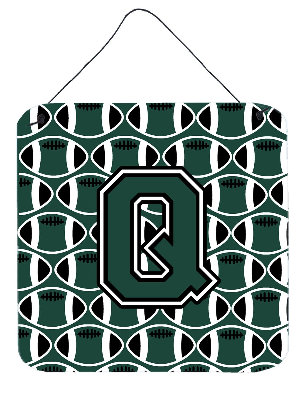 Letter Q Football Green and White Wall or Door Hanging Prints CJ1071-QDS66 by Caroline's Treasures