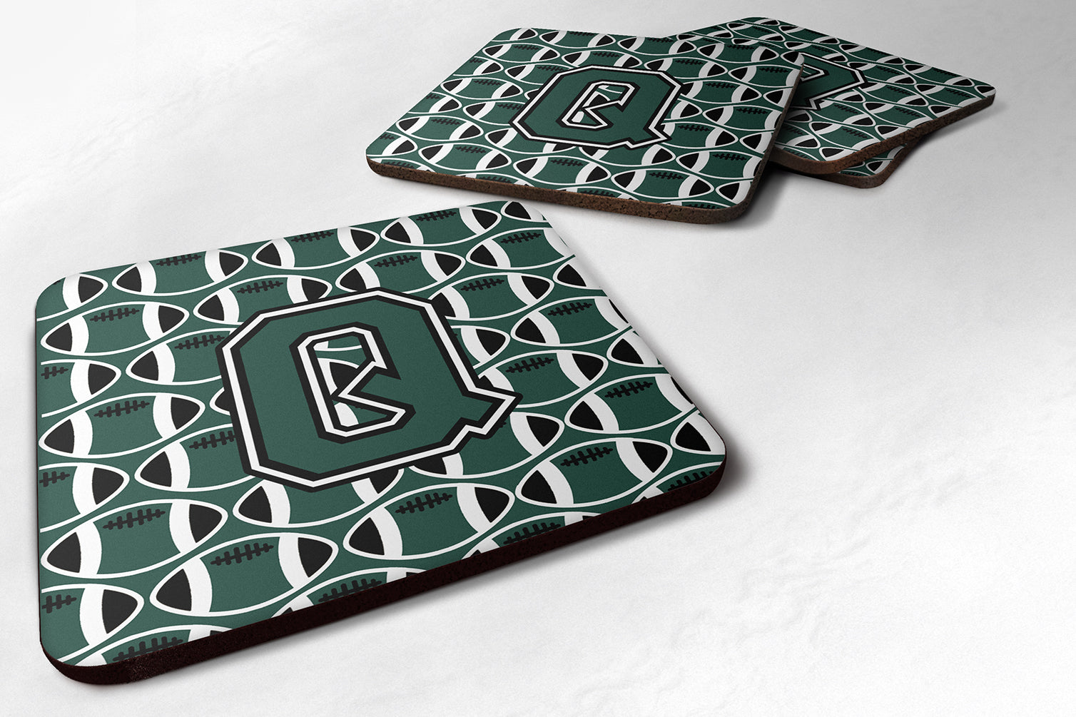 Letter Q Football Green and White Foam Coaster Set of 4 CJ1071-QFC by Caroline's Treasures