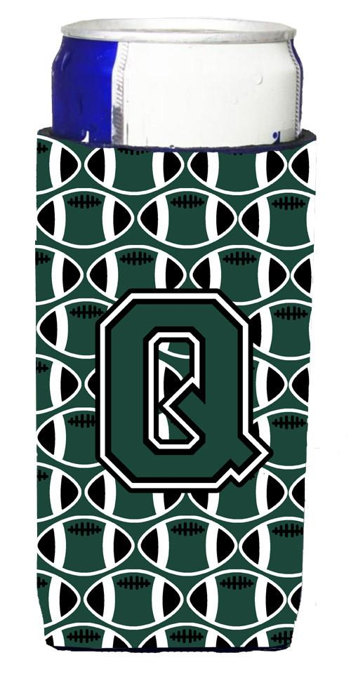 Letter Q Football Green and White Ultra Beverage Insulators for slim cans CJ1071-QMUK by Caroline's Treasures