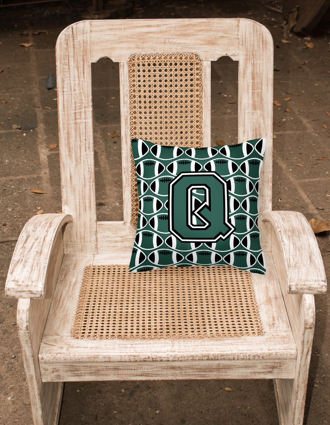 Letter Q Football Green and White Fabric Decorative Pillow CJ1071-QPW1414 by Caroline's Treasures