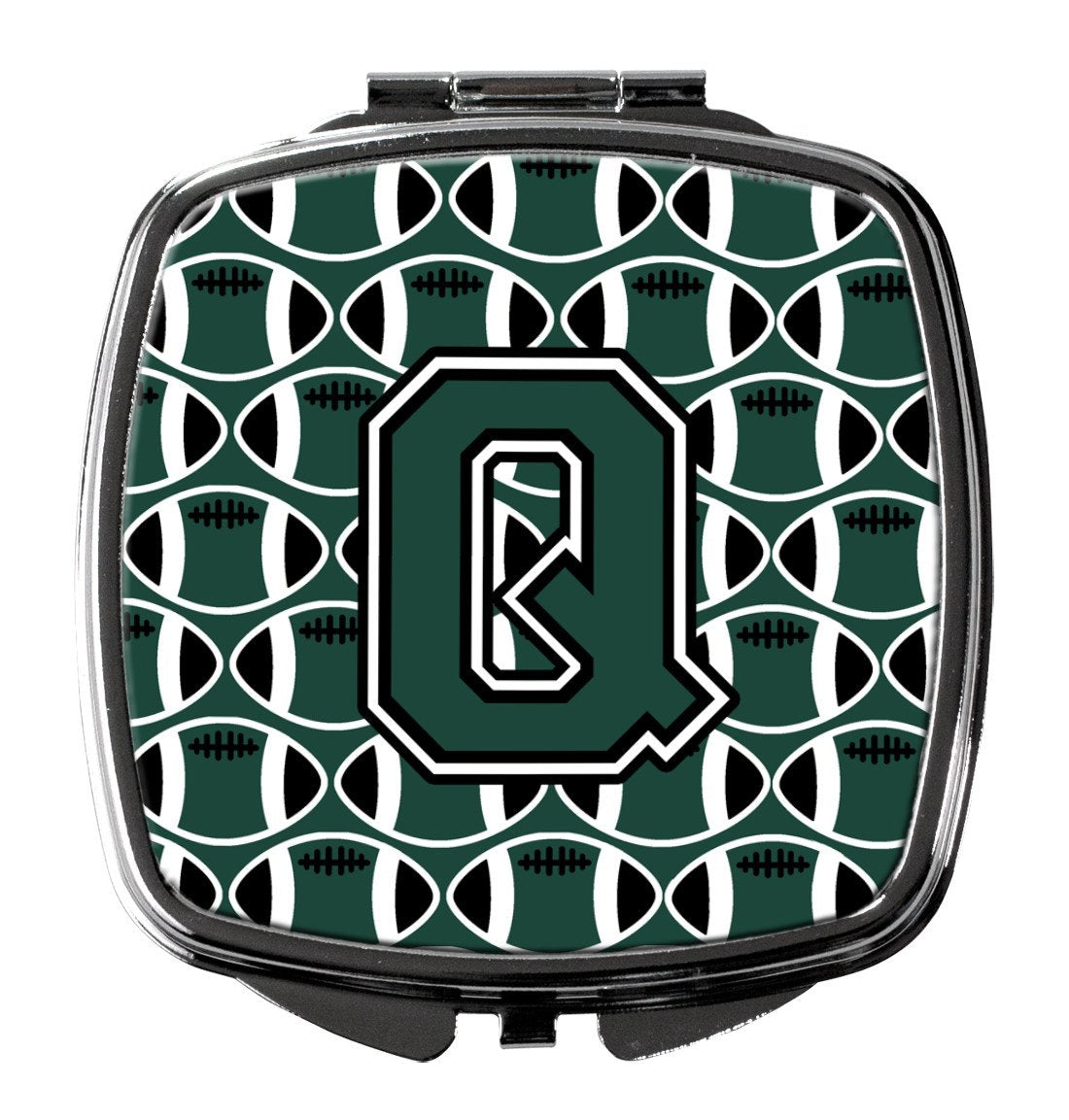 Letter Q Football Green and White Compact Mirror CJ1071-QSCM by Caroline's Treasures
