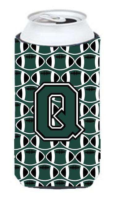 Letter Q Football Green and White Tall Boy Beverage Insulator Hugger CJ1071-QTBC by Caroline's Treasures