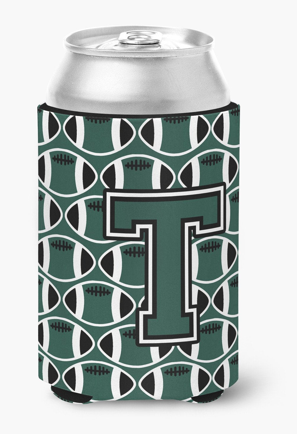 Letter T Football Green and White Can or Bottle Hugger CJ1071-TCC by Caroline's Treasures