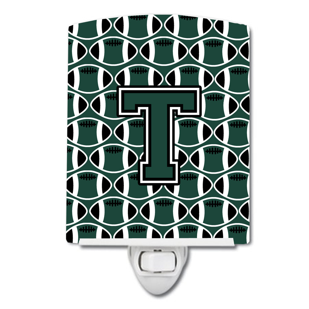 Buy this Letter T Football Green and White Ceramic Night Light CJ1071-TCNL