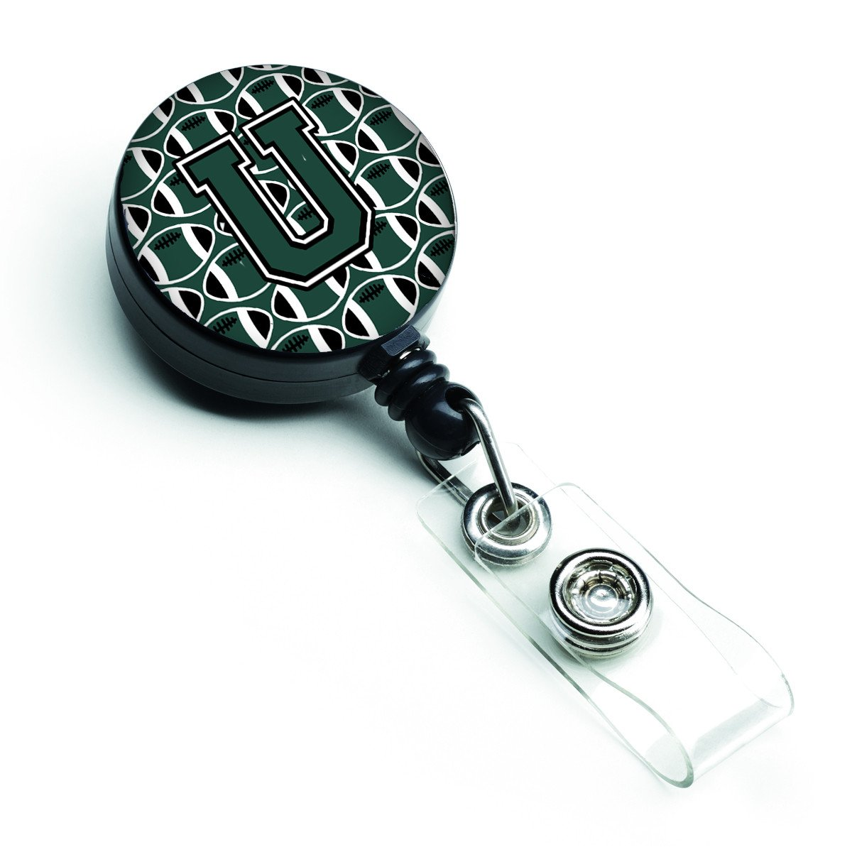 Letter U Football Green and White Retractable Badge Reel CJ1071-UBR by Caroline's Treasures