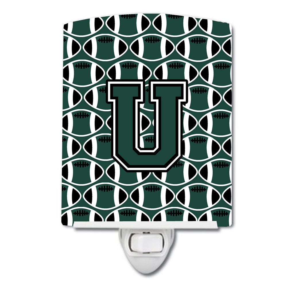 Buy this Letter U Football Green and White Ceramic Night Light CJ1071-UCNL