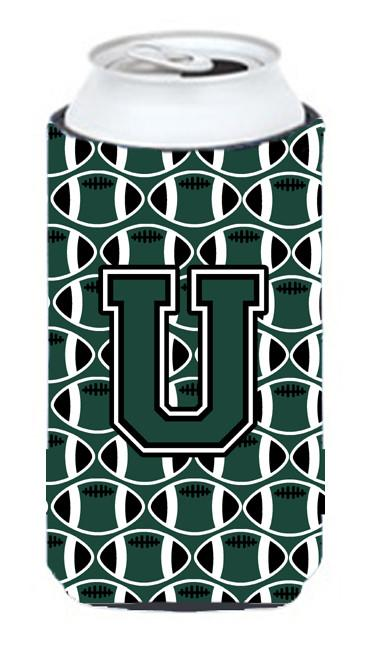 Buy this Letter U Football Green and White Tall Boy Beverage Insulator Hugger CJ1071-UTBC