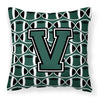 Letter V Football Green and White Fabric Decorative Pillow CJ1071-VPW1414 by Caroline's Treasures